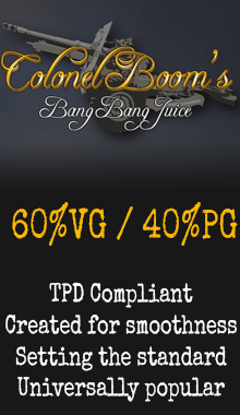 Colonel Boom's Bang Bang Juice tpd compliant UK eliquid